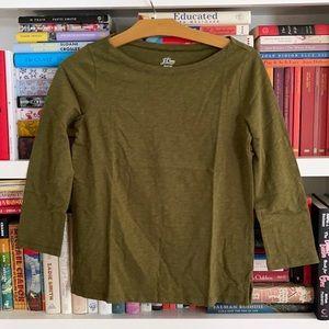 J. Crew Slub Tee Knit Goods Olive Cotton Size XS